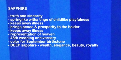 Symbolic meaning and description of different shades of the color sapphire