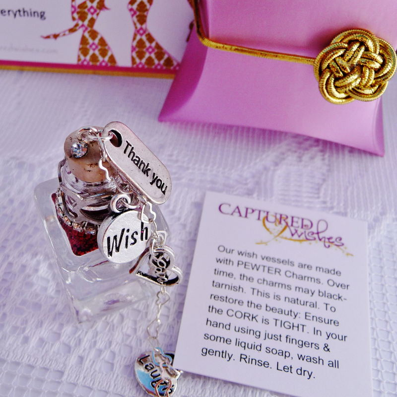 pink/gold thank you bridesmaid wishes gift