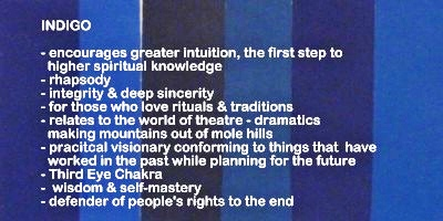 Symbolic meaning and description of different shades of the color indigo