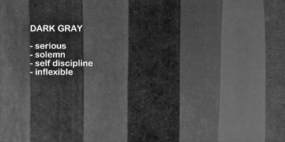 Symbolic meaning and description of different shades of the color dark gray