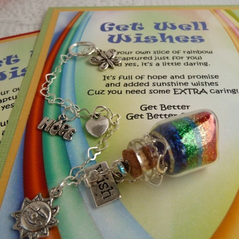 Get Well Wishes verse card with rainbow colors in a tiny little bottle with themed charms attached