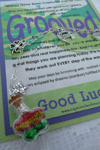 Our good luck gift is a Wish captured in Fairy Dust inside a miniature bottle. Another great gift idea from Captured Wishes!