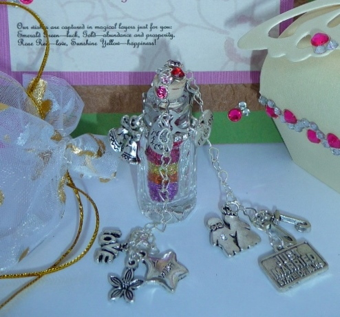 happy wedding wish vessel with themed charms and verse card explaining wish color layers