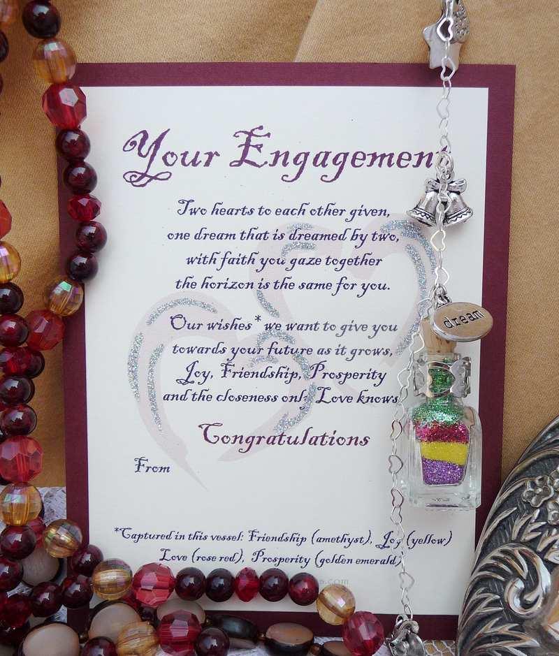 engagement wishes verse card explains bottled wishes