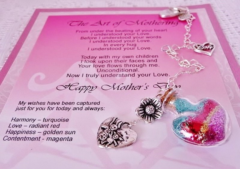 Art of Mothering verse card that explains the beautiful colored wish layers in the heart shaped mini bottle. For Mothers and daughters