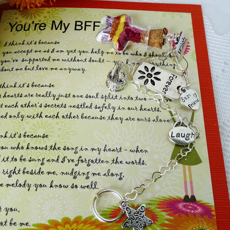 Why you're my BFF verse card with bottled wishes gift