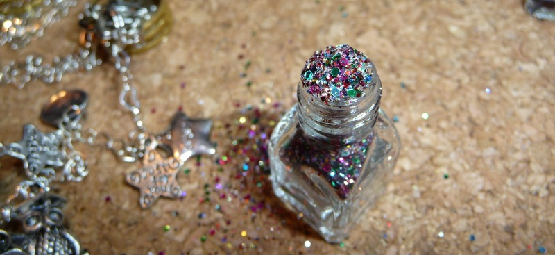 wish vessel uncorked with hexagonal shaped glitter