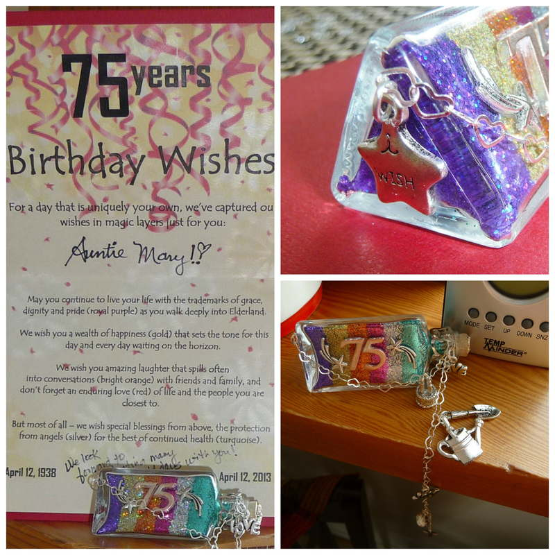collage of 75th birthday wishes pics with verse card explaining wish layers