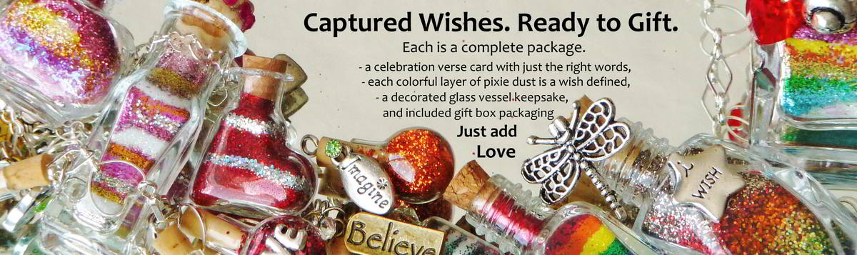Captured Wishes. Ready to Gift  banner showing colorful selection of wish vessels