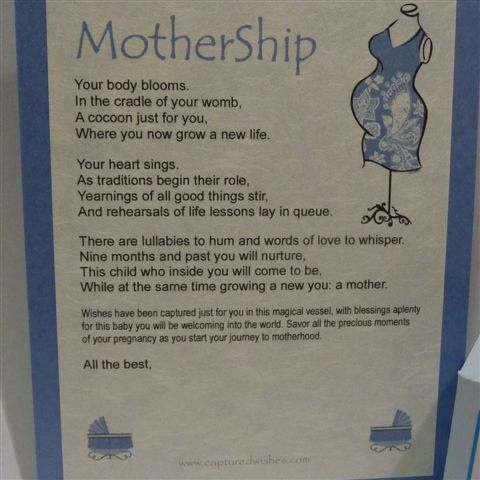 Mothership verse card in blue with words about looking forward to becoming a mother