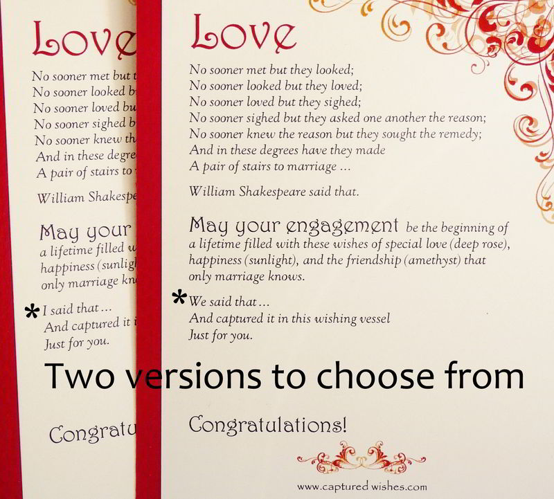 This unique Shakespeare Said engagement gift is perfect for your friends or family member who just got engaged