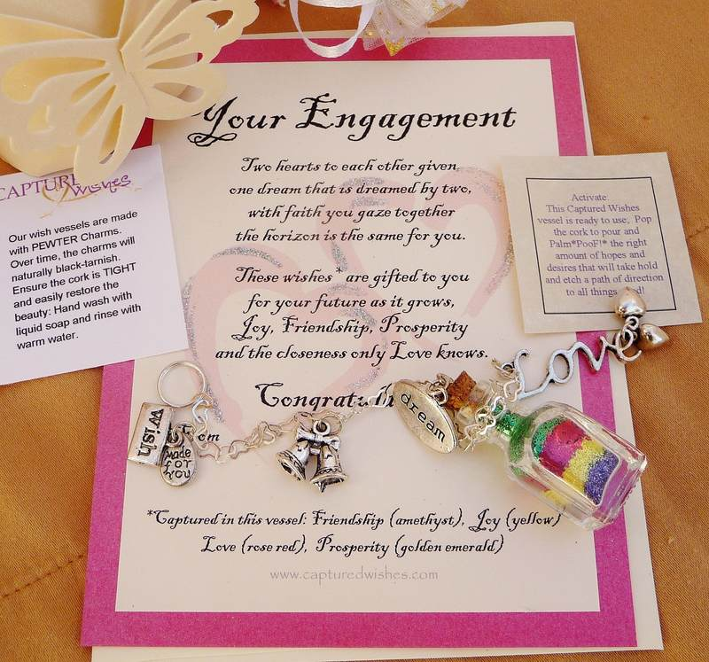 Engagement Wishes verse card and wish bottle gift with charms