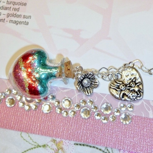 Mini glass heart full of glitter layers for Mother's Day from Captured Wishes