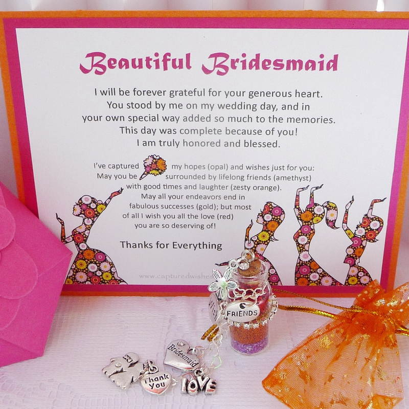 Say thank you to your bridesmaid with this heart-melting verse card that accompanies a unique wish-filled bottle