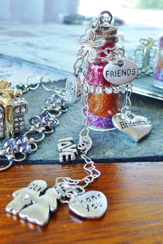 bridesmaid thank you wishes bottle filled with personalized wish layers