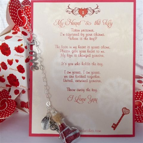 My Heart and the Key closeup of romantic verse card with mini heart, key and handcuffs
