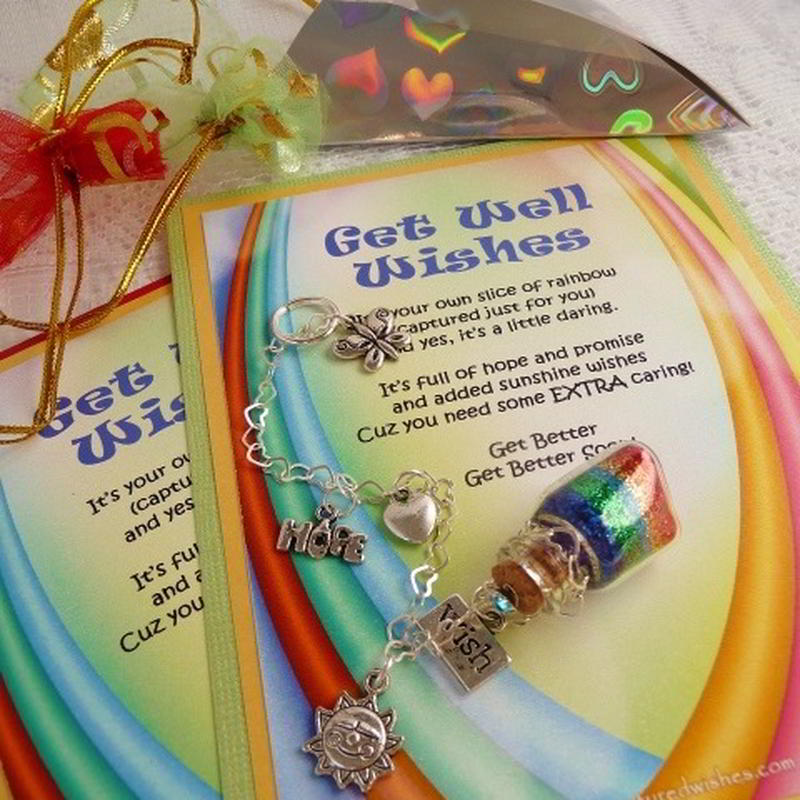 Rainbow Get Well Captured Wish vessel comes complete with a verse card, for those times you struggle to express your wishes