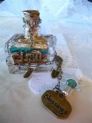 50th birthday blessings and wishes mini bottle with colorful wish layers