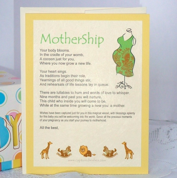 Mothership Verse Card In Yellow With Heartwarming Words About Expectations  Of Becoming A Mother