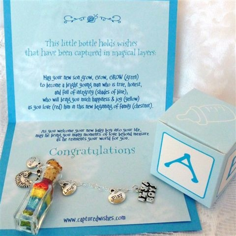 Snips and Snails verse card with symbolic colorful wishes trapped in a mini bottle