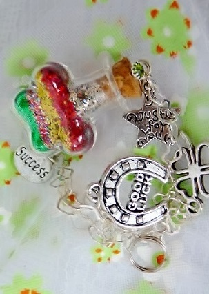 Good Luck wishes closeup with charms: horseshoe, success, clover and just for you charms