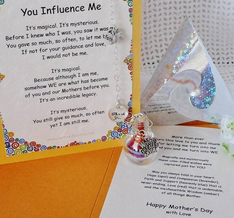You Influence Me verse card to a mother from a daughter: includes a colorful filled wishing vessel