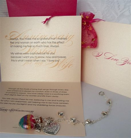 Anniversary wishes gift set from him to her with verse card and wish vessel