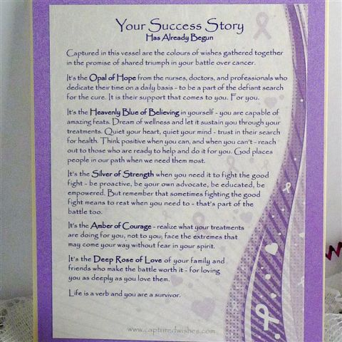 cancer patient support verse card talking about captured wishes gift to support their battle against cancer
