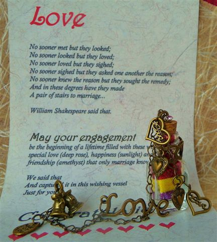 Shakespeare themed engagement verse card with antique bronze charm adorned wish vessel