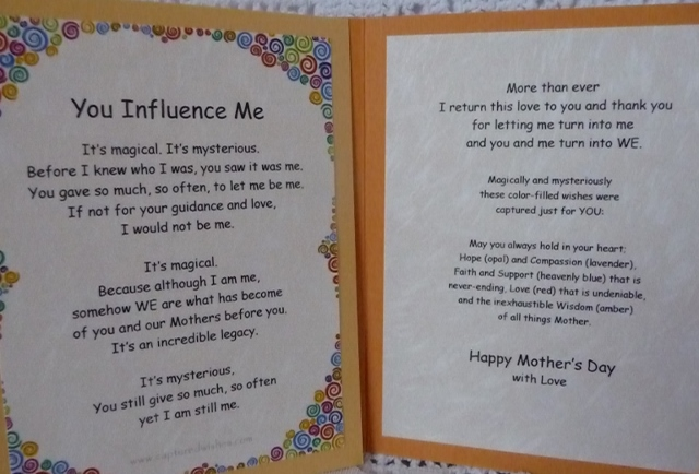 You Influence Me verse card message to give on Mother's Day